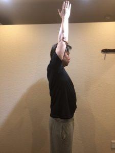 肩の挙上動作の施術前の可動域